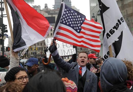 美國民眾舉行反戰遊行 抗議美英法聯軍襲擊敘利亞