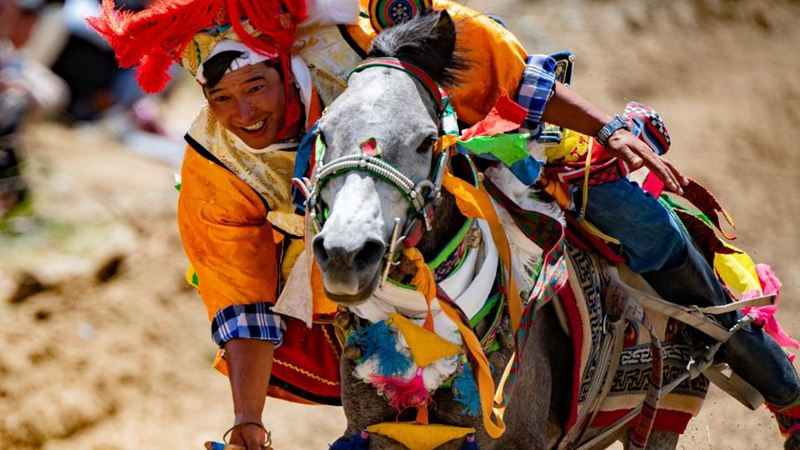 Annual horse racing event held in China's Tibet