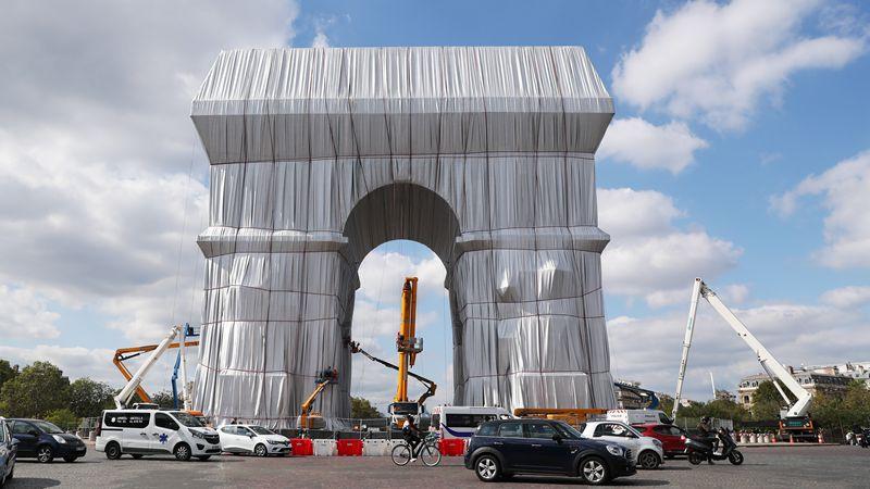Arc de Triomphe in Paris wrapped in fabric