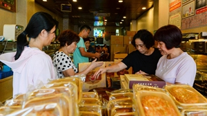 Hainan-style mooncakes prepared for customers in Haikou, China's Hainan