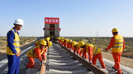 Track-laying work completed for major railway in China's Xinjiang