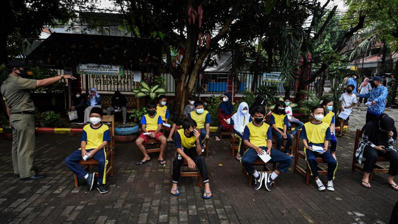Students receive COVID-19 vaccines in Tangerang, Indonesia
