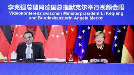 Premier Li meets Merkel via video link