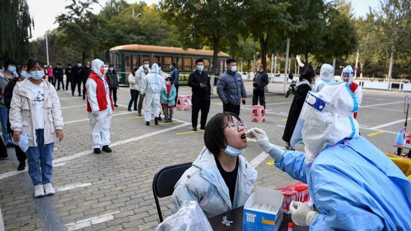 Residents line up for nucleic acid tests in Yinchuan, Ningxia