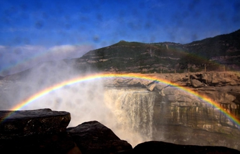 In pics: rainbow over Yellow River's Hukou Waterfall in Shaanxi