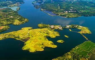無人機航拍舂陵濕地 山環水繞水景相依