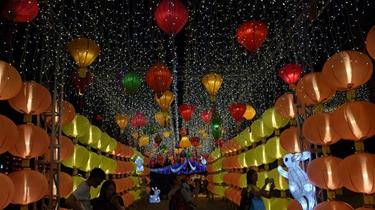 特寫:中秋彩燈照亮香江夜空