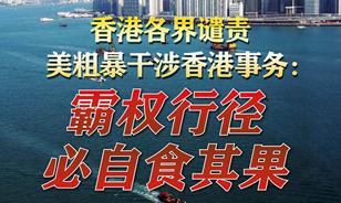 【圖解】香港各界譴責美粗暴幹涉香港事務:霸權行徑 必自食其果
