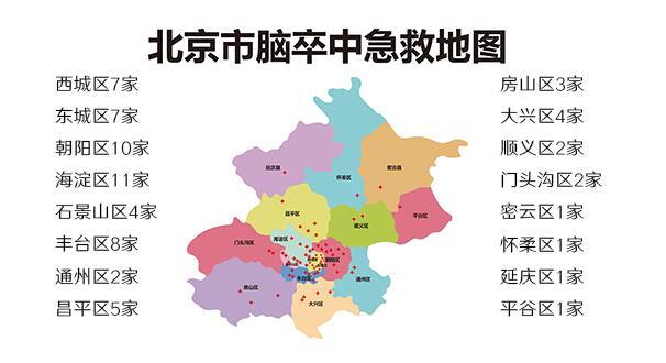 北京地區腦卒中急救地圖發布