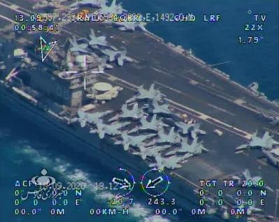 伊朗又派無人機圍觀過海峽美軍航母 甲板上戰機看得一清二楚
