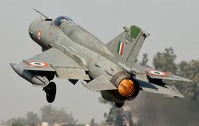 印度一架米格-21戰鬥機墜毀