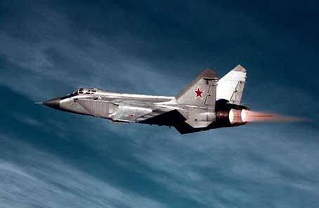 俄军一架米格—31战机在俄西部坠毁