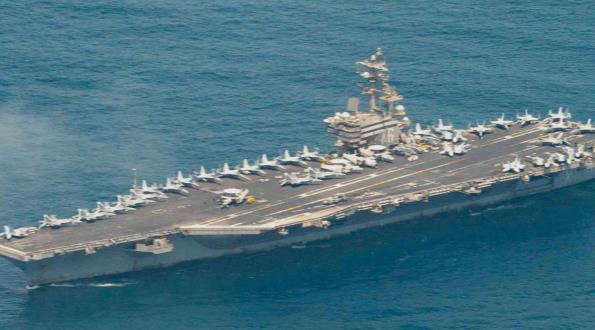 臨時部署3個月後 美軍裏根號航母悄悄駛離中東