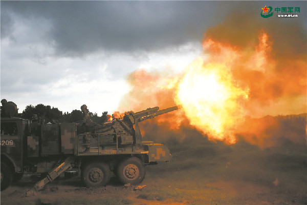 炮火衝天,第82集團軍某合成旅炮兵營組織實彈射擊演練