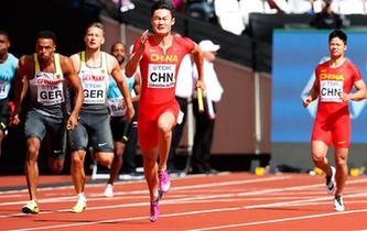 田徑——世錦賽:中國隊晉級男子4X100米接力決賽