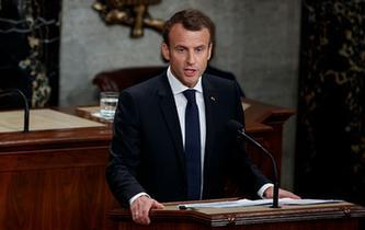 法國總統馬克龍在美國國會演講