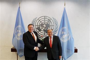 聯合國秘書長古特雷斯會見美國國務卿蓬佩奧