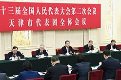 趙樂際參加天津代表團審議