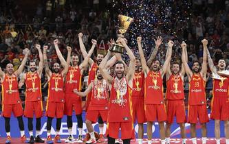 2019年北京篮球世界杯冠军西班牙队夺得冠军