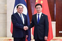 韓正會見老撾副總理宋賽