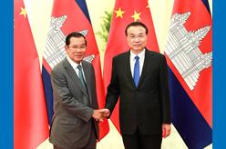 李克強會見柬埔寨首相洪森