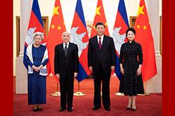 習近平夫婦會見柬埔寨國王西哈莫尼和太後莫尼列