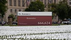 美國華盛頓:66萬面白色旗幟悼念新冠逝者