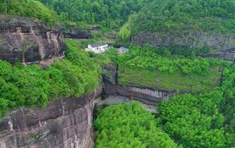 航拍江西名山瑞金羅漢岩 風景秀麗宛若山水畫卷