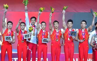 體操——世錦賽:中國隊男子團體奪冠