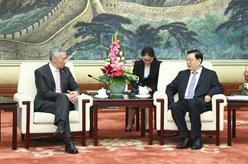 張德江會見新加坡總理李顯龍