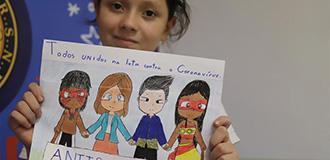 巴西女孩作畫支持中國抗擊疫情