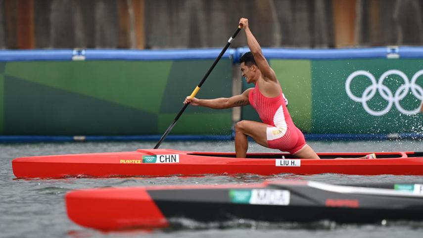 皮劃艇靜水男子1000米單人劃艇:中國選手劉浩獲得銀牌