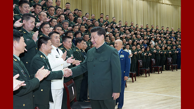 習近平接見聯保部隊第一次黨代會代表、駐湖北部隊副師職以上領導幹部和團級單位主官