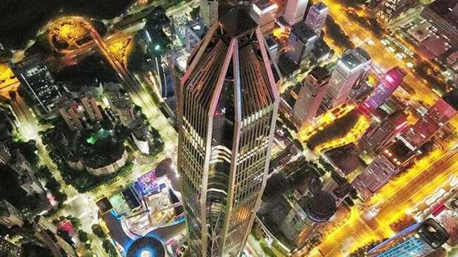 超廣角航拍深圳CBD夜景