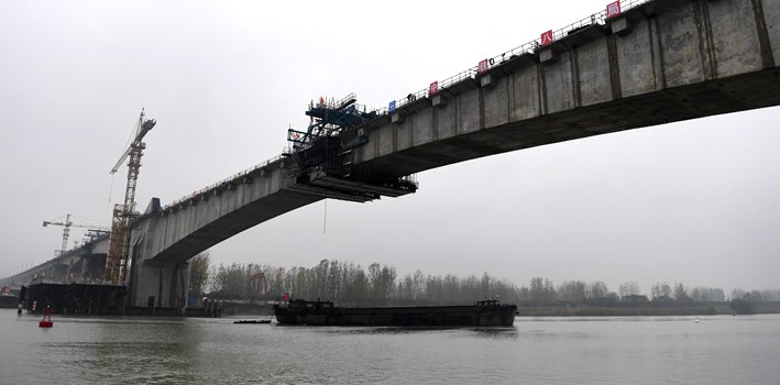 商合杭鐵路跨淮河特大橋順利實現合龍