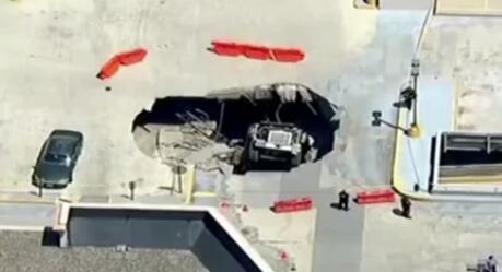 美國:一卡車在停車場陷落