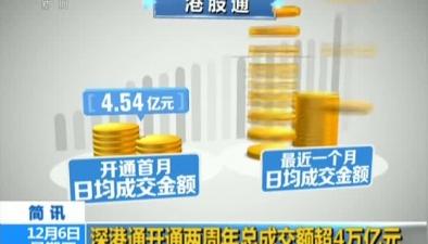 深港通開通兩周年總成交額超4萬億元