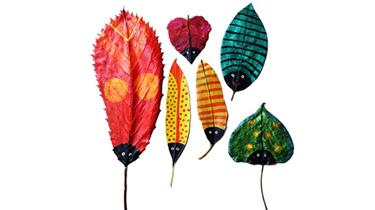 武漢:美術老師樹葉作畫走紅 送娃上學路上撿的樹葉