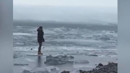 冰島遊客無視警示 冰塊上行走漂走了