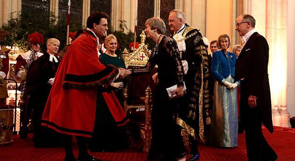 英國倫敦金融城市長舉辦年度晚宴 首相特雷莎·梅出席